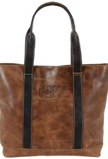 Carolina Sewn Westbridge Two-Tone Tan and Black Tote Dog Head W (ONLINE ONLY)