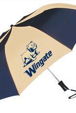 "Storm Duds 48"" Navy Gold Push Button Auto Fold Full Dog Wingate Umbrella"