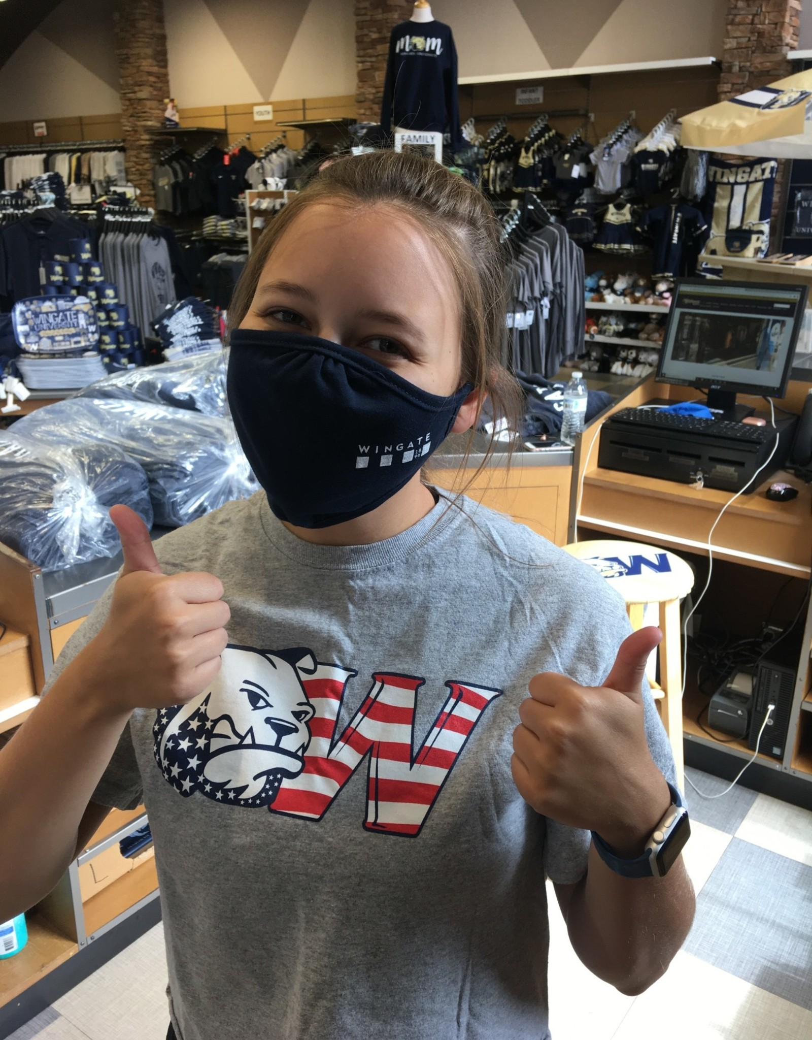 Washable Navy Cotton Bar Flag Corner Mask