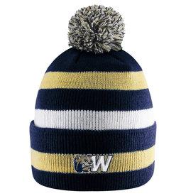 Logo Fit Primetime Striped Knit Cuff Pom Hat
