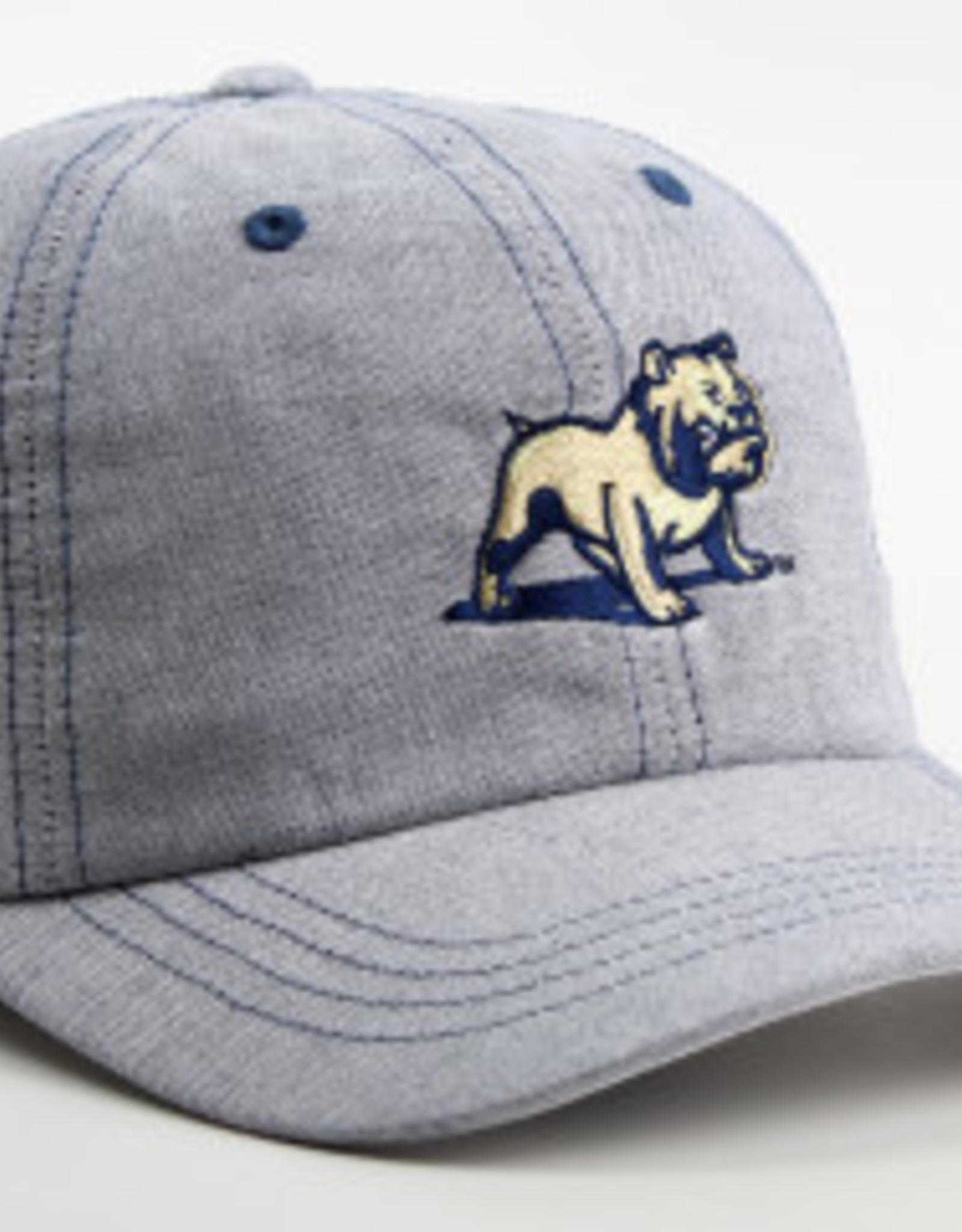 Ahead Standing Bulldog Navy Oxford Prep Solid Mid Fit Unstructured Adjustable Hat