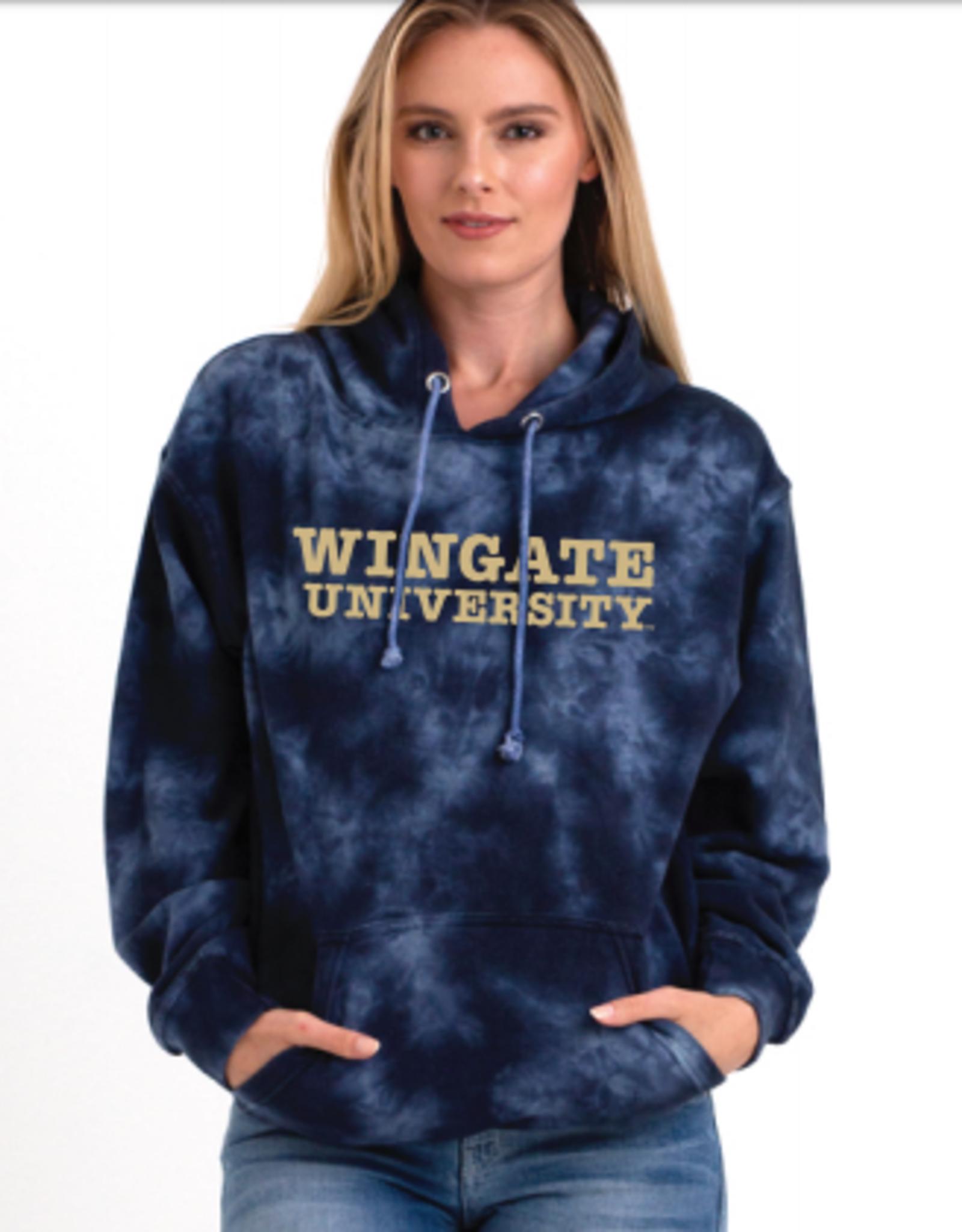Navy Tie Dye Oversized Wingate University Hoodie