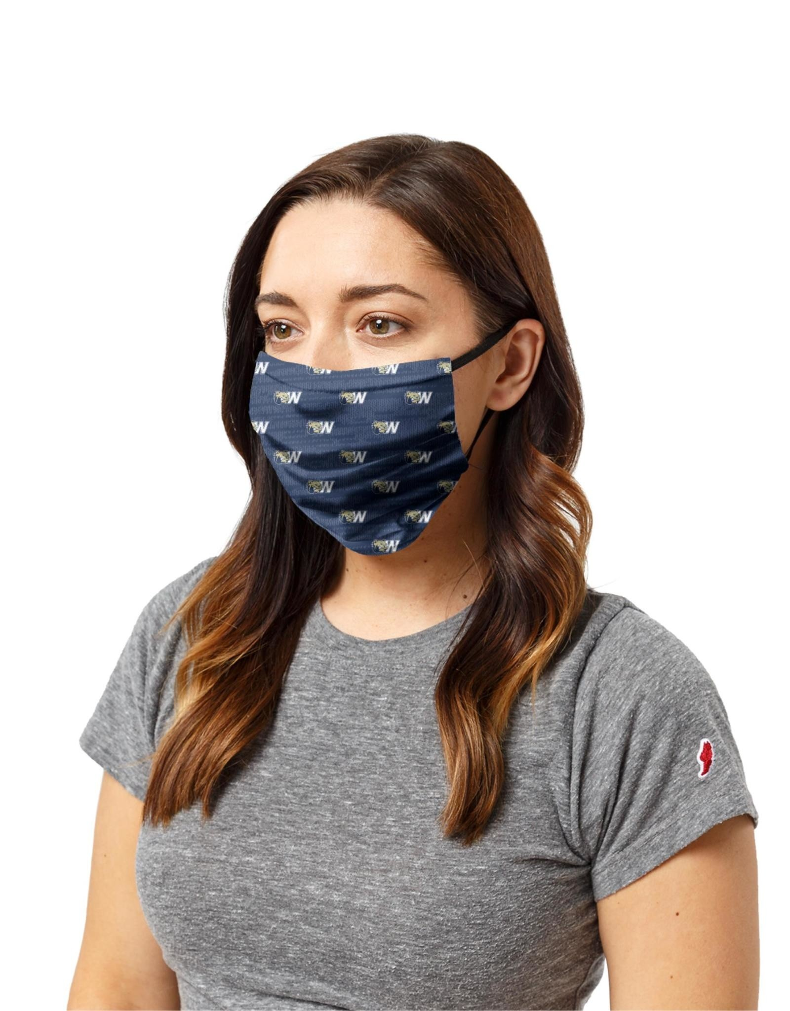 League 3 Layer Breathable Navy Dog Head W Washable Mask