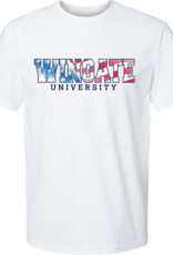 Next Level Red White Blue Wingate University White SS Tee