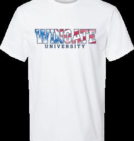 Next Level Red White Blue Wingate University White SS Tee