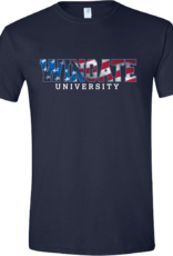 Next Level Red White Blue Wingate University Navy SS Tee