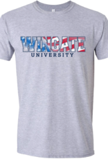 Next Level Red White Blue Wingate University Grey SS Tee