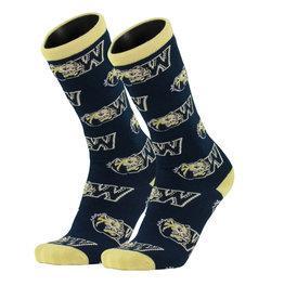 Twin City Knitting All Over Mid Calf Navy Vegas Gold Toe Dog Head W Socks