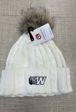 Logo Fit Alps Knit Cuff Faux Fur Pom Winter White Hat
