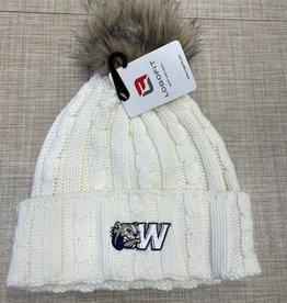 Logo Fit Alps Knit Cuff Faux Fur Pom Winter White Hat