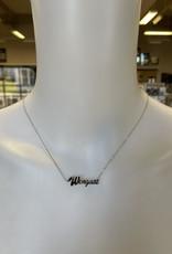 Chelsea Taylor Adjustable Wingate Silver Plated Rhodium Diamond Stud Necklace