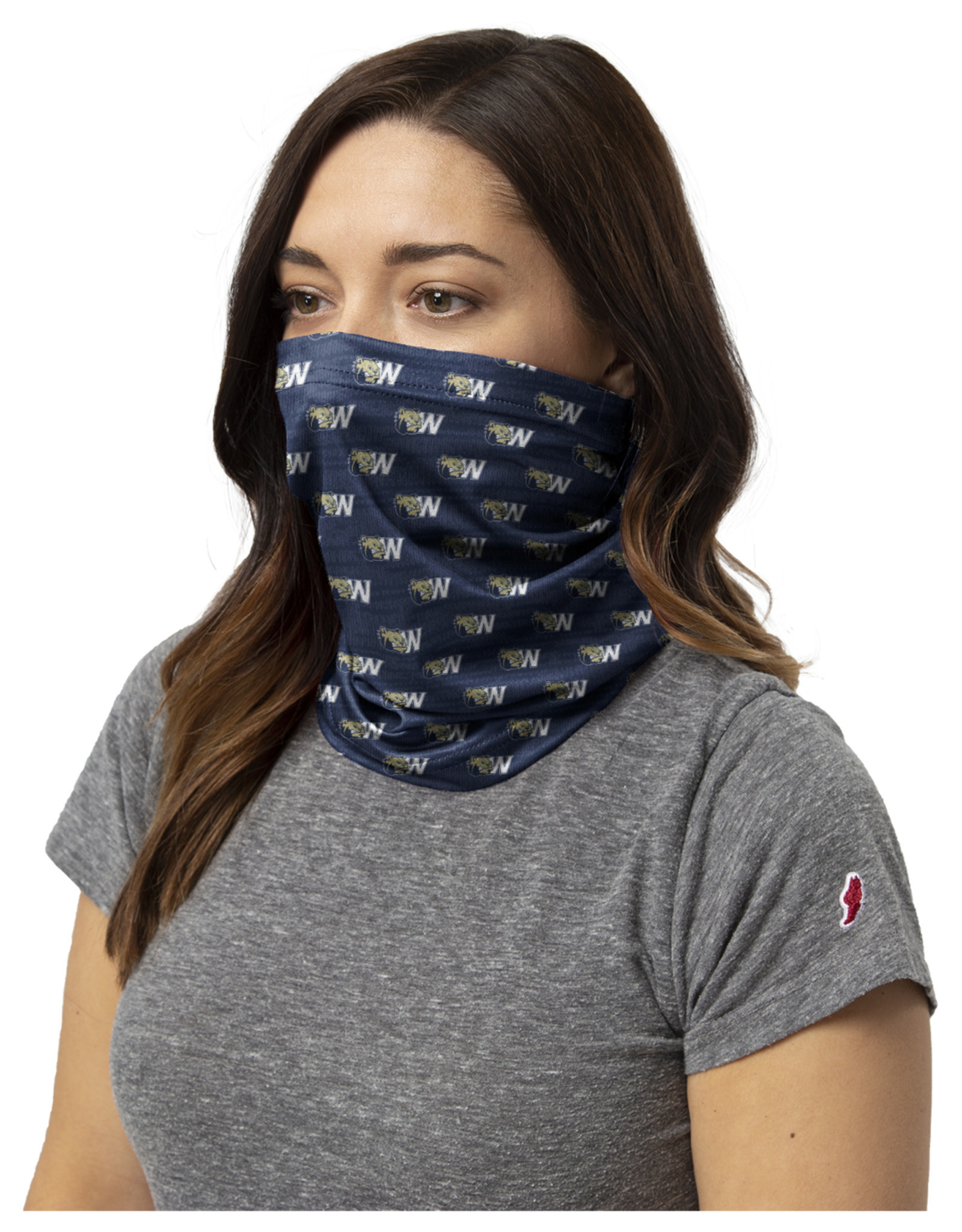 League Navy Drifit Dog Head W Face Covering Neck Gaiter
