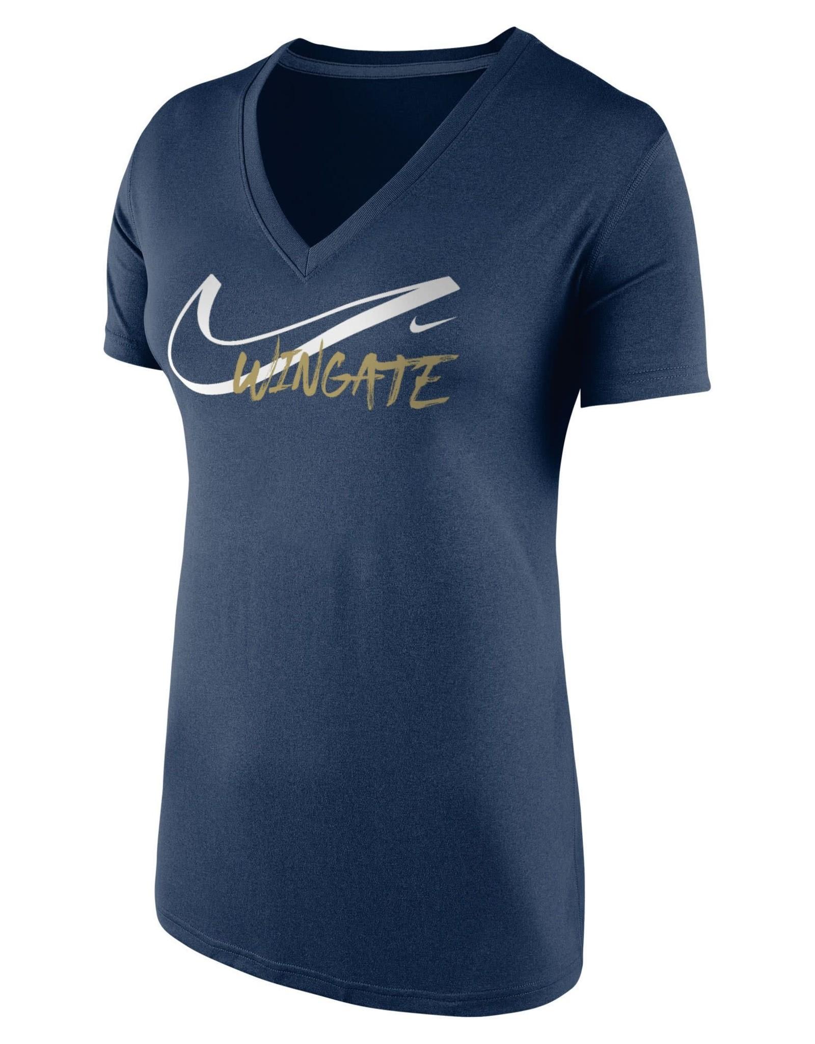 Nike Ladies Navy Legend Drifit VNeck Hollow Swoosh SS Tee