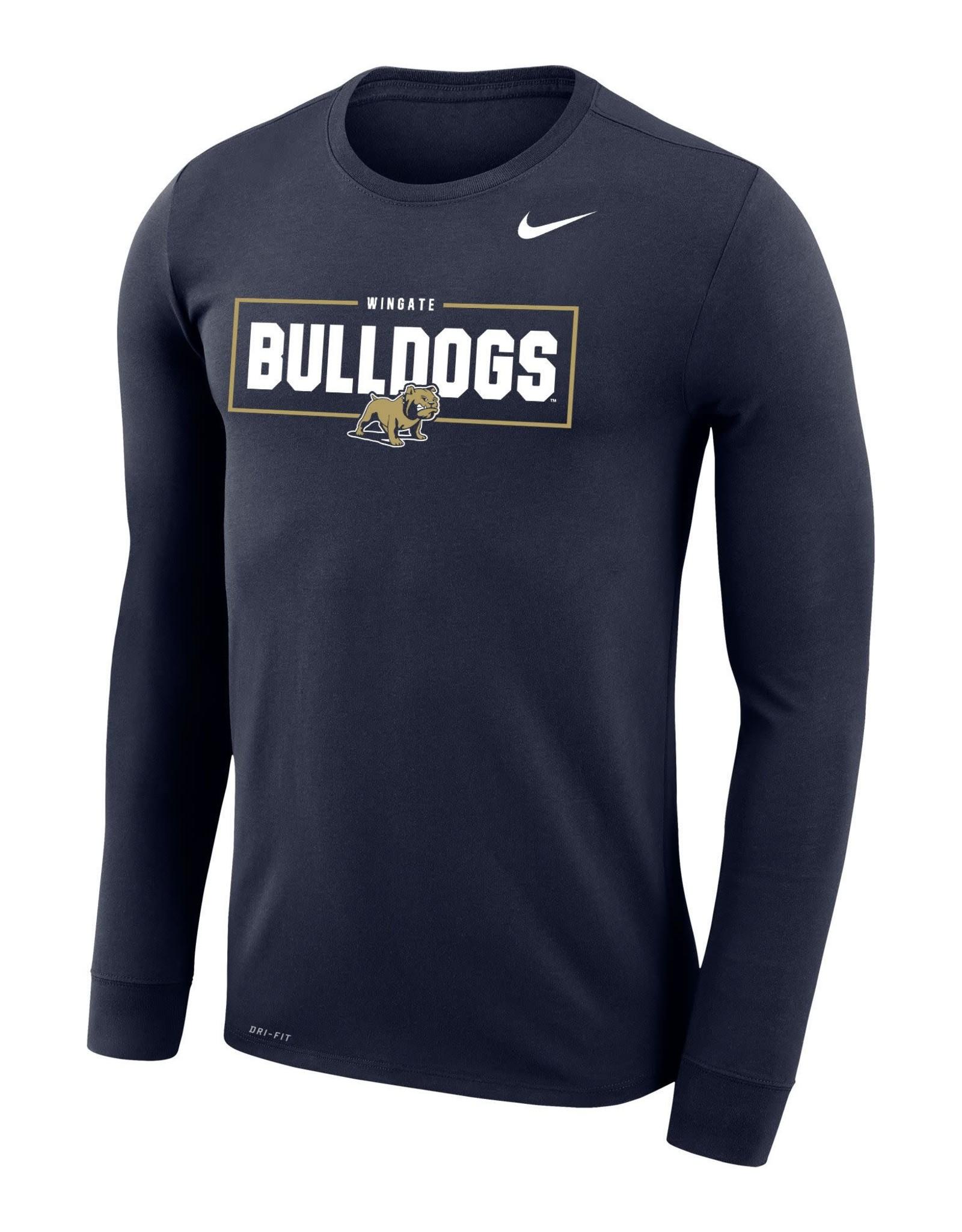 Nike Navy Legend Wingate University Bulldogs Full Dog LS