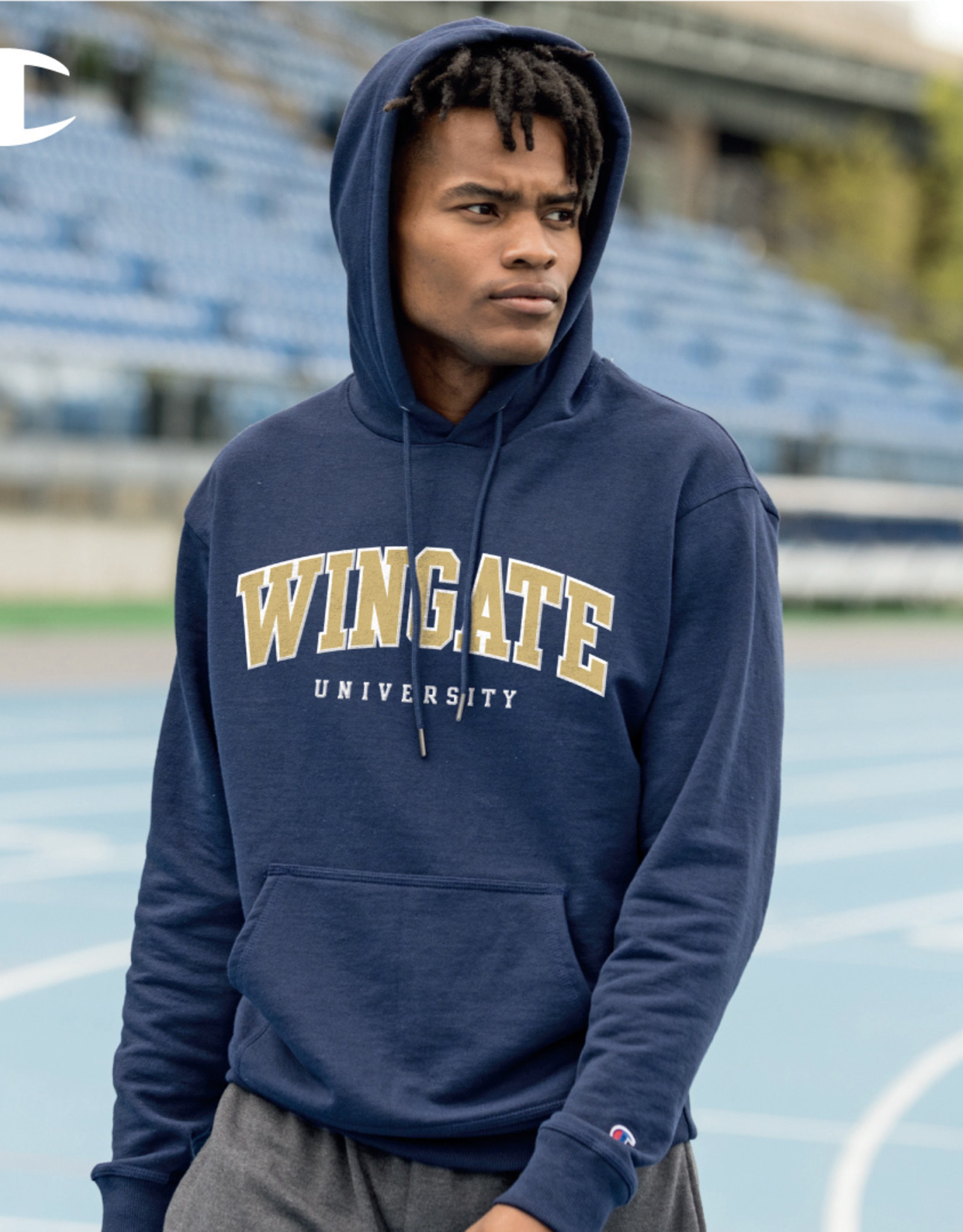 Champion Navy Powerblend Wingate University Embroidered Hoodie