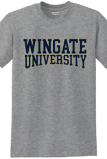 Gildan Grey Wingate University Curved Outlined SS Tee