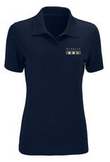 Vansport Ladies Navy Omega Solid Mesh Tech Wingate University Flag Polo