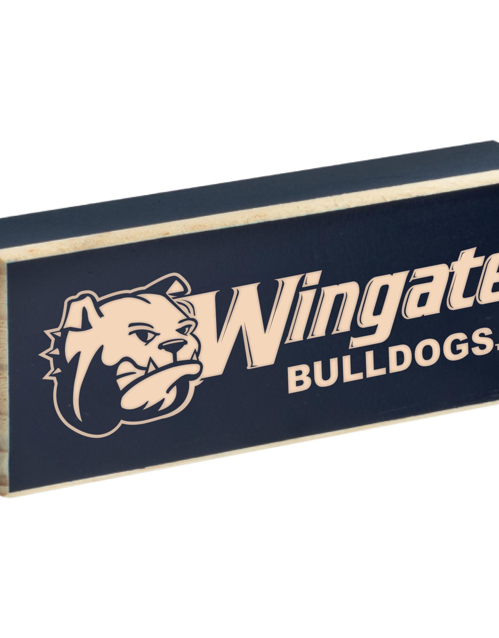 "Neil 4' x 1.5"" Wooden Dog Head Wingate Bulldogs Magnet"