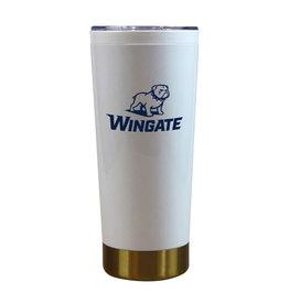 MCM 20oz Iconic White Tumbler Gold Bottom Full Dog Over Wingate
