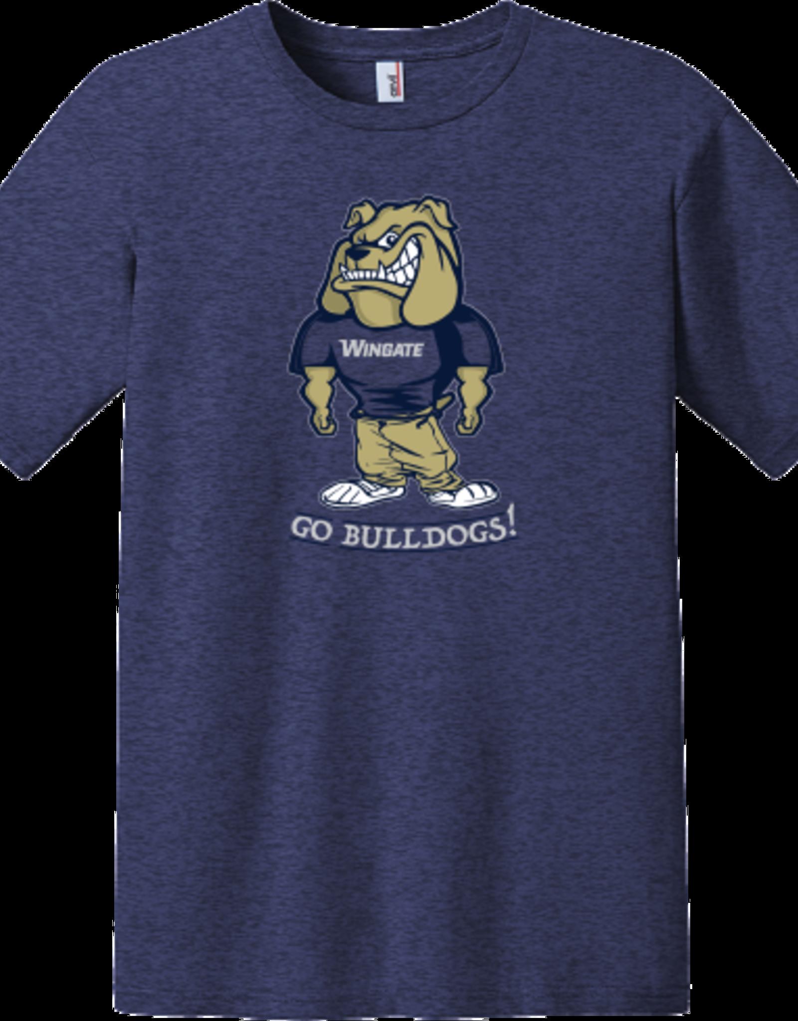 Anvil Gildan Lightweight Cartoon Mascot Wingate Bulldogs Blue SS Tee