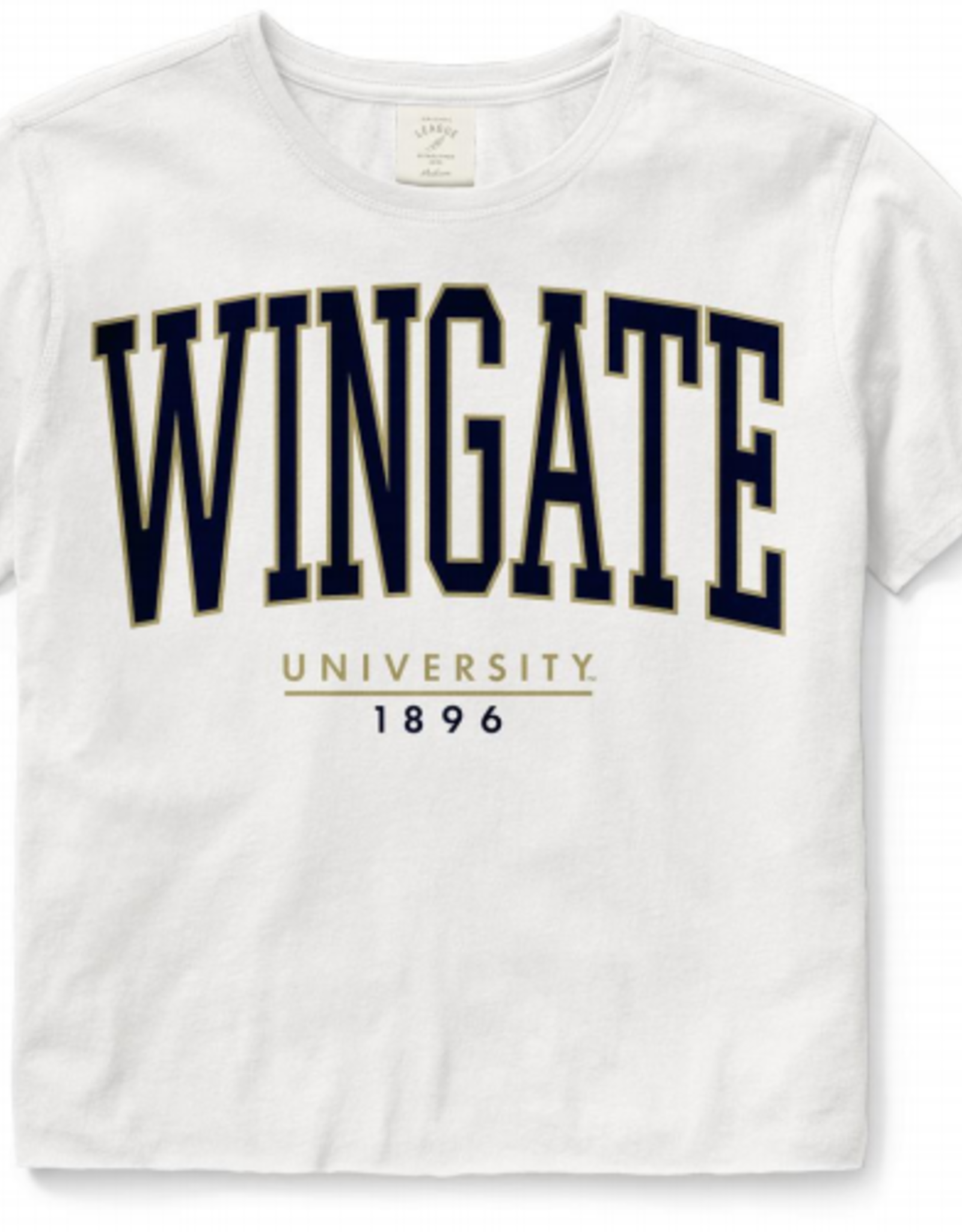 League Ladies White Crop Wingate University SS Tee