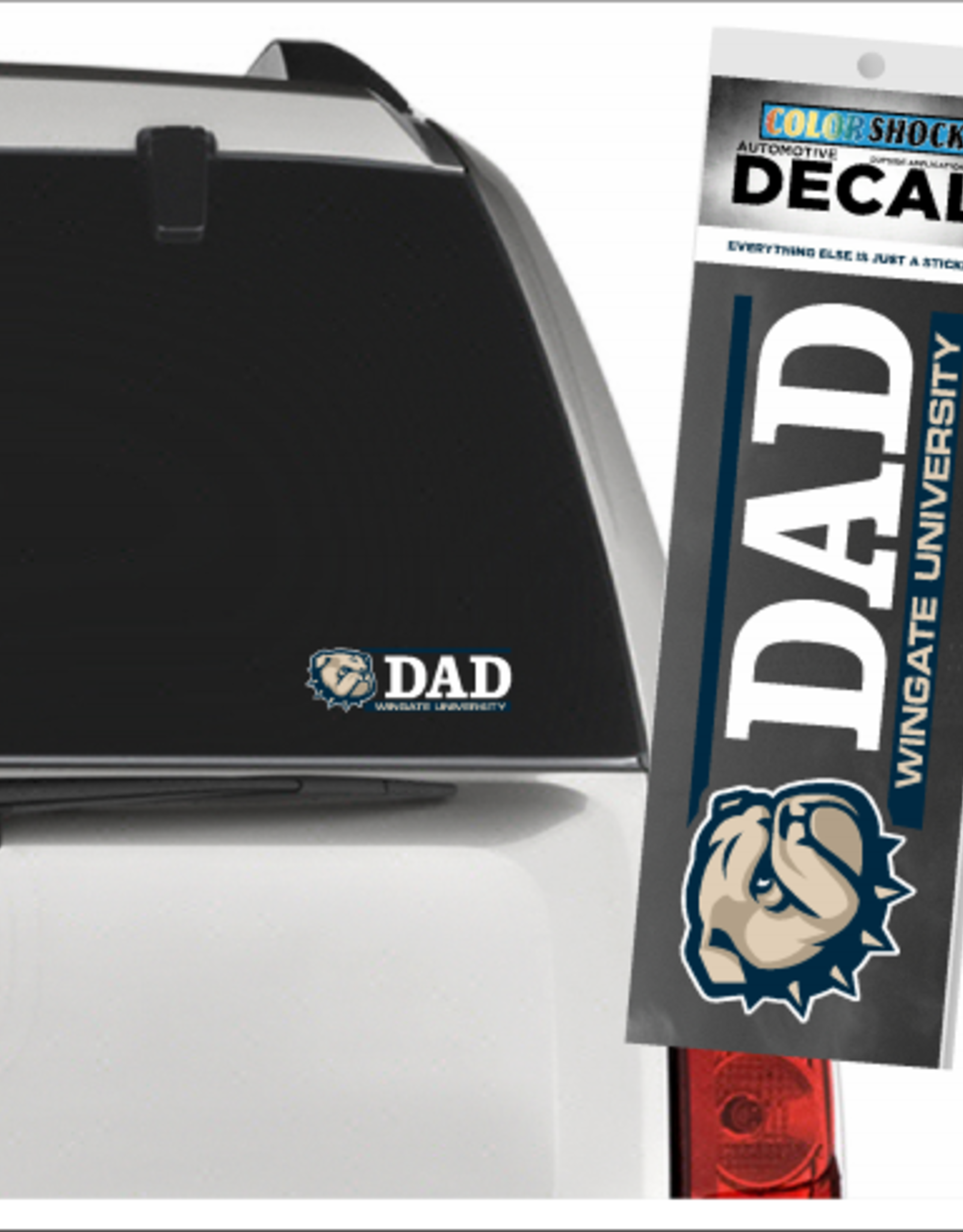 CDI 2 x 6 New Dog Head Dad Over Wingate University Decal