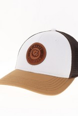 Legacy White Carmel Brown Leather Patch Snap Back Trucker Hat