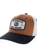 Legacy White Carmel Brown Wingate  Dog Head 1896 Bulldogs Patch Snap Back Trucker Hat