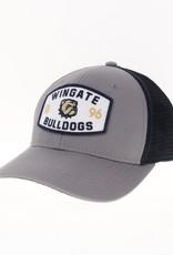 Legacy Grey Navy Wingate  Dog Head 1896 Bulldogs Patch Snap Back Trucker Hat