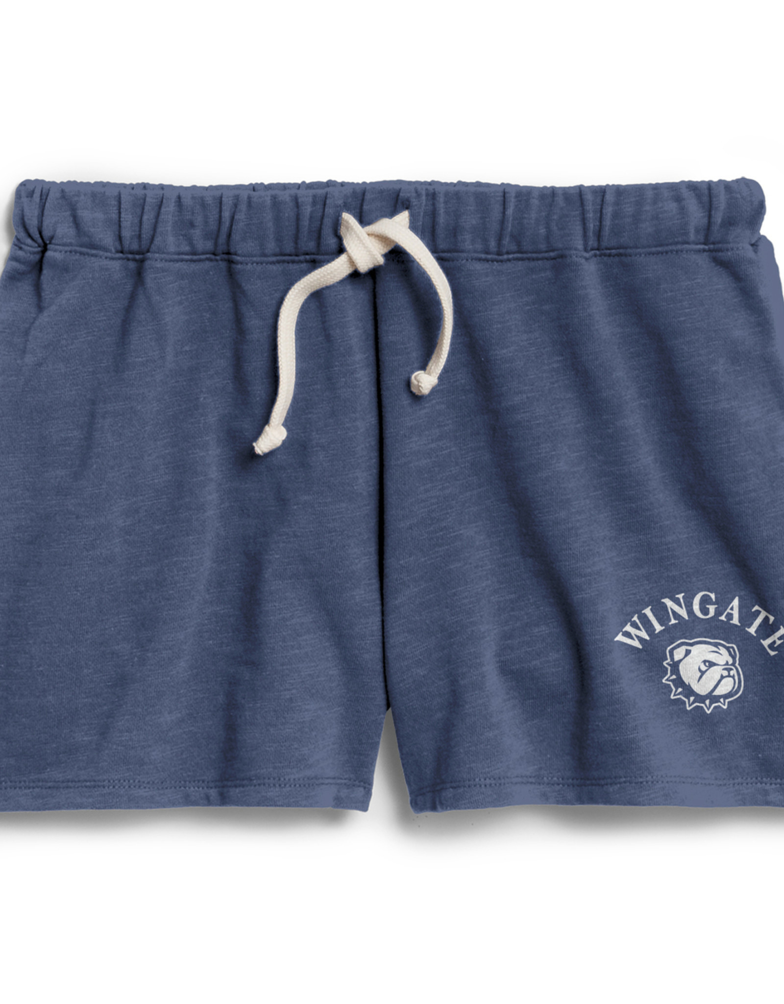 League Ladies Navy Unwind Relaxed Fit Wingate New Dog Head Terry Shorts
