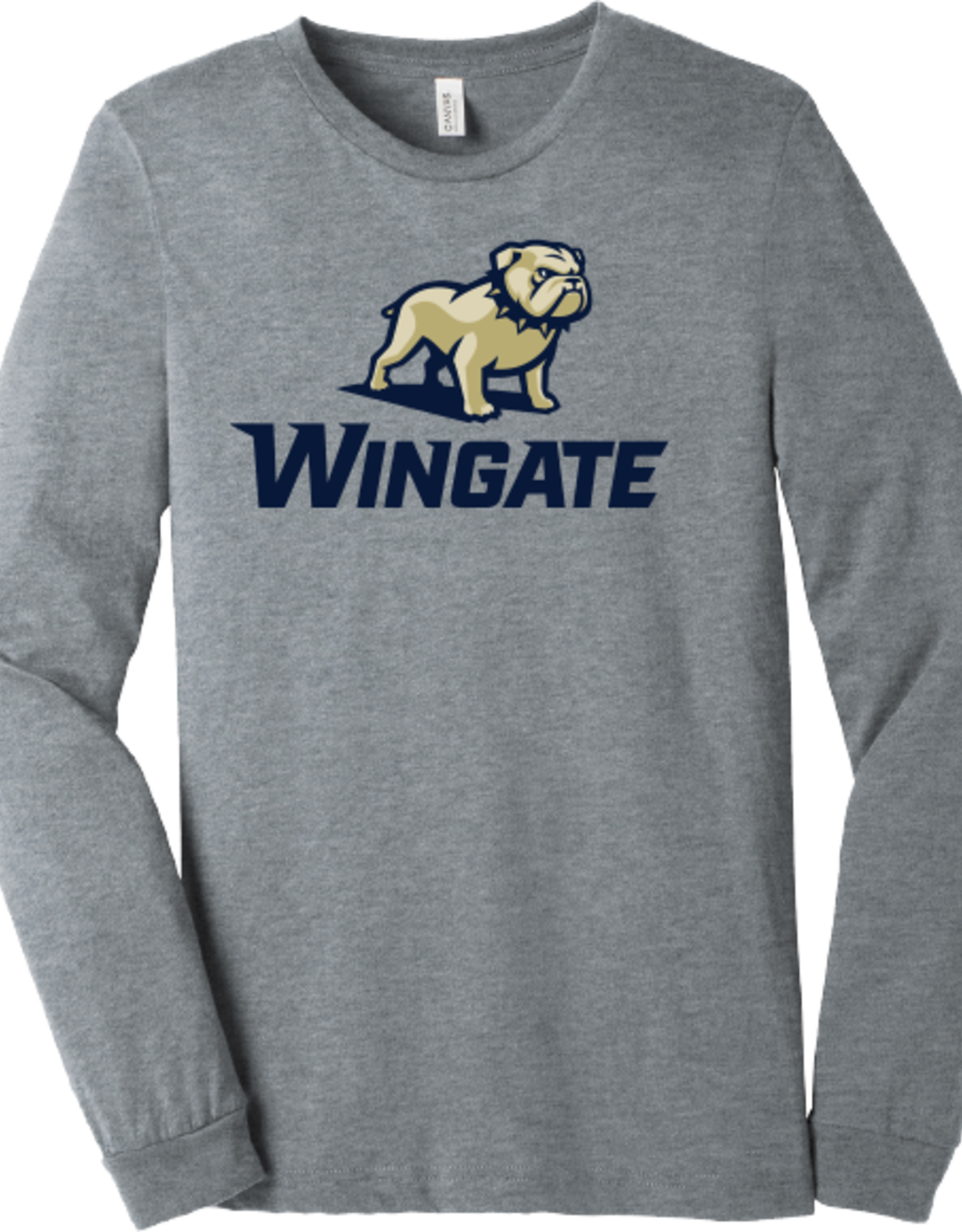 Bella + Canvas Grey New Full Standing Dog Over Wingate LS Tee