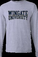 Gildan Grey Wingate University Curved Outline LS Tee