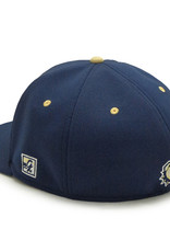 The Game Navy New W Flat Bill Structured Stretch Fit