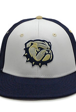 The Game Navy White Front New Dog Head  W Back Flat Bill Structured Stretch Fit