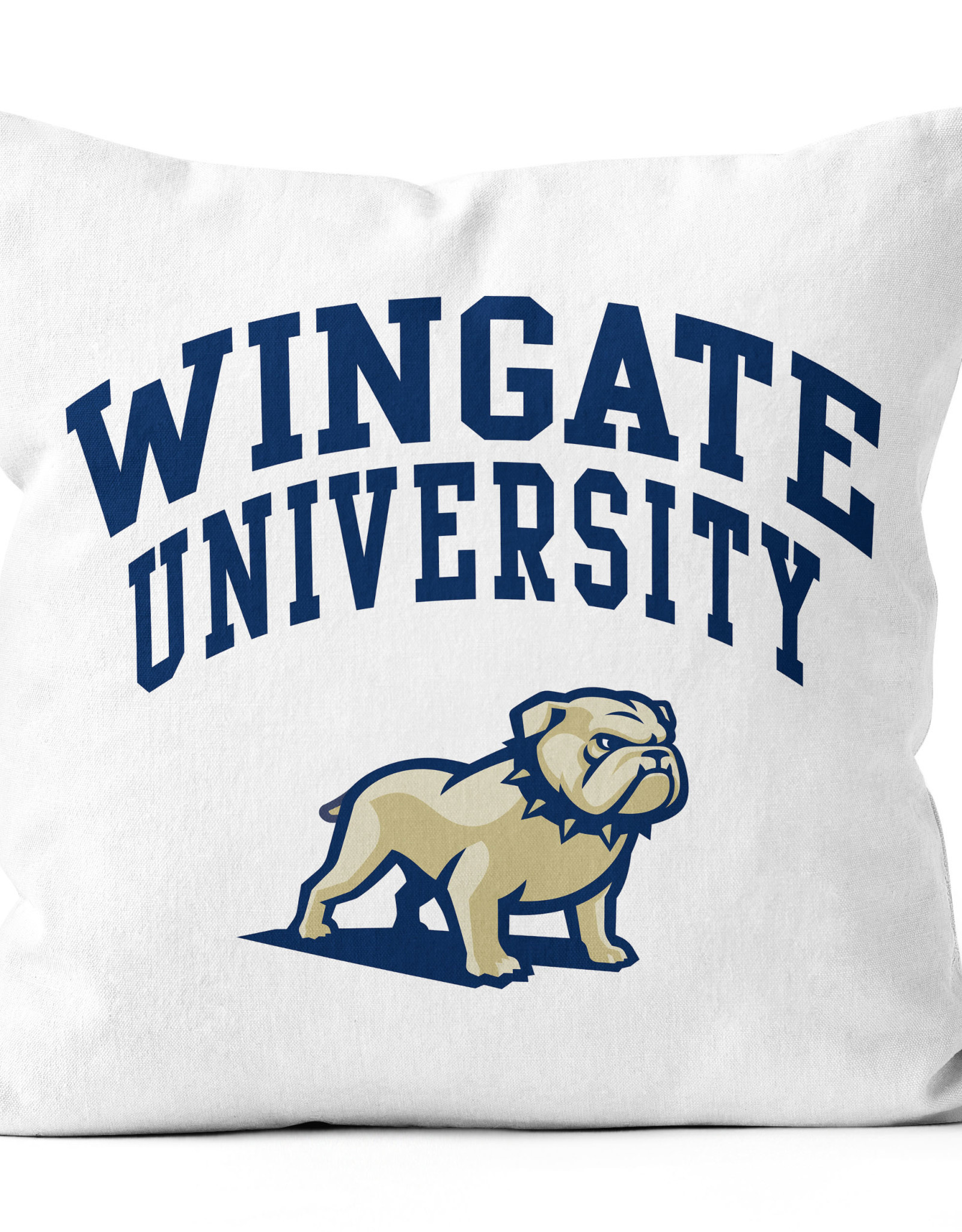 "Jardine 18""x18"" Indoor White Velvet Sublimated Pillow Wingate University Over Dog Head"