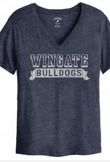 League Denim Intramural Boyfriend Wingate Bulldogs Vneck SS Tee