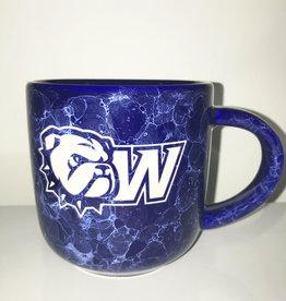 RFSJ 17oz Cobalt Blue Marbled Natural Mug WU Front New Dog Head W Back