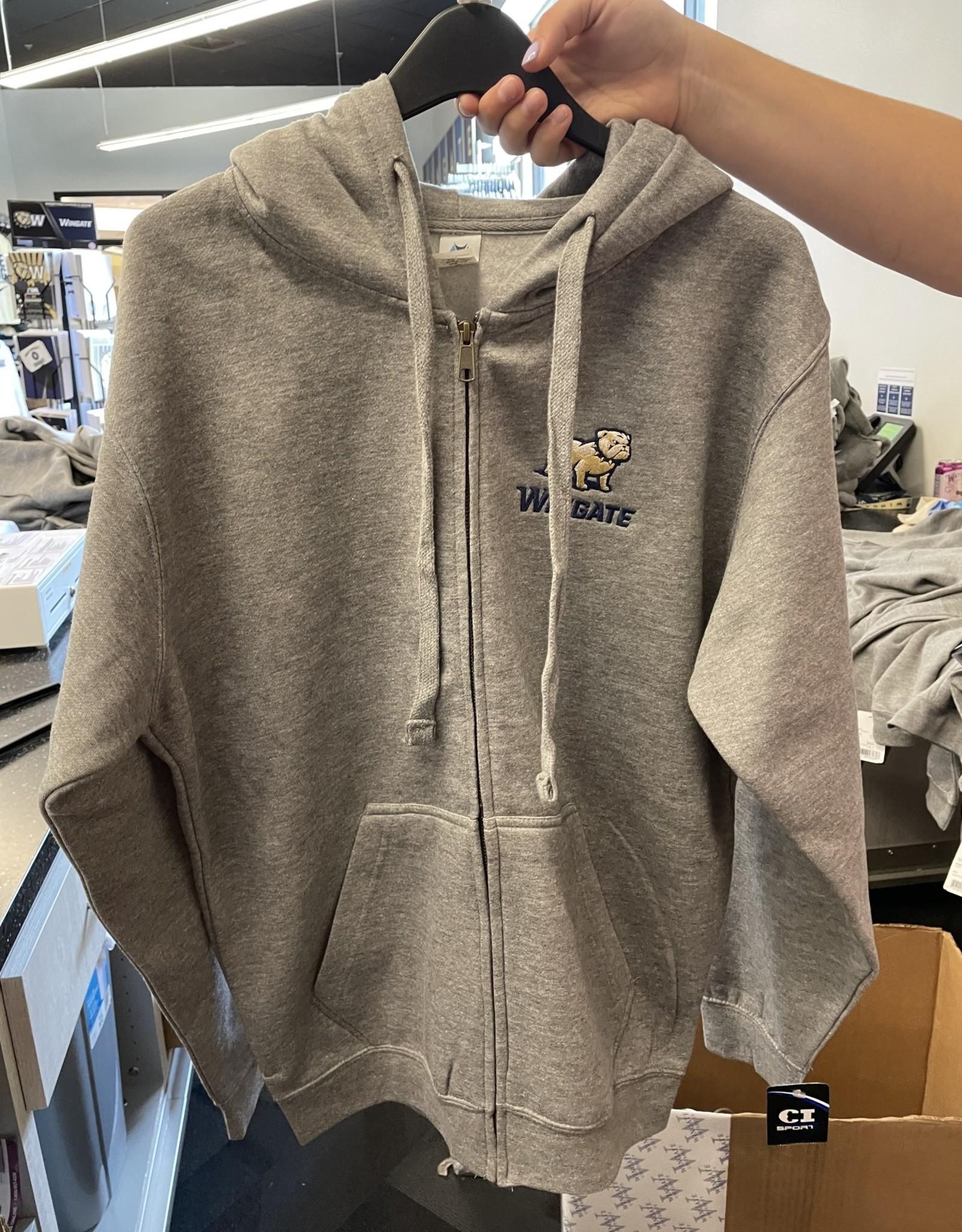 Mill Tex Grey Wingate University Celsius Full Zip Hoodie Jacket