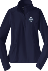 Sport Tek Ladies Navy Baseball Championship Embroidered 1/2 Zip Pullover