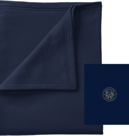 """50"""" x 60"""" Navy Sweatshirt Blanket School Seal"""