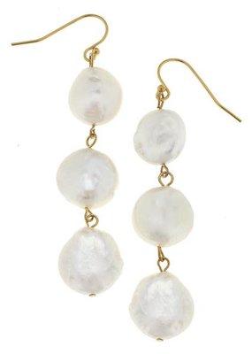 Gold & 3 Geniune Coin Pearl Earrings