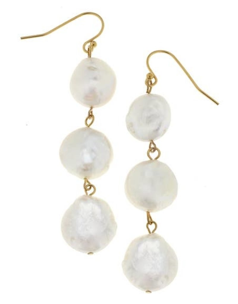 Susan Shaw Gold & 3 Geniune Coin Pearl Earrings