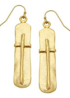 Gold Bar with Cross Earrings