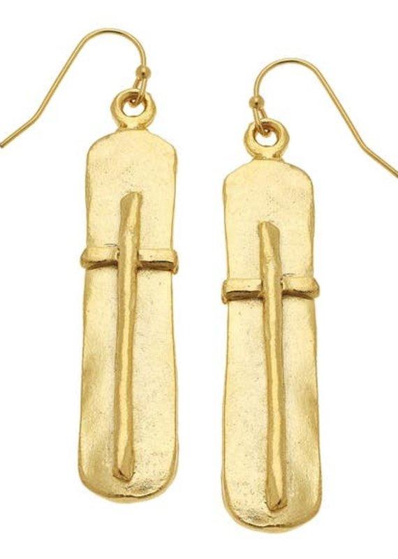 Gold Bar with Cross Earrings