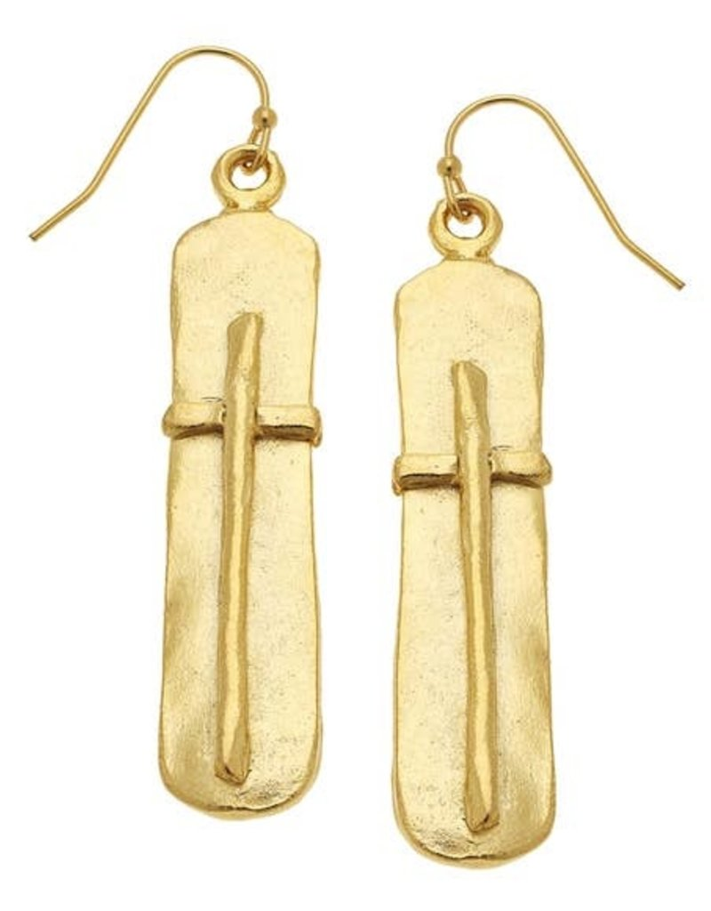 Susan Shaw Gold Bar with Cross Earrings