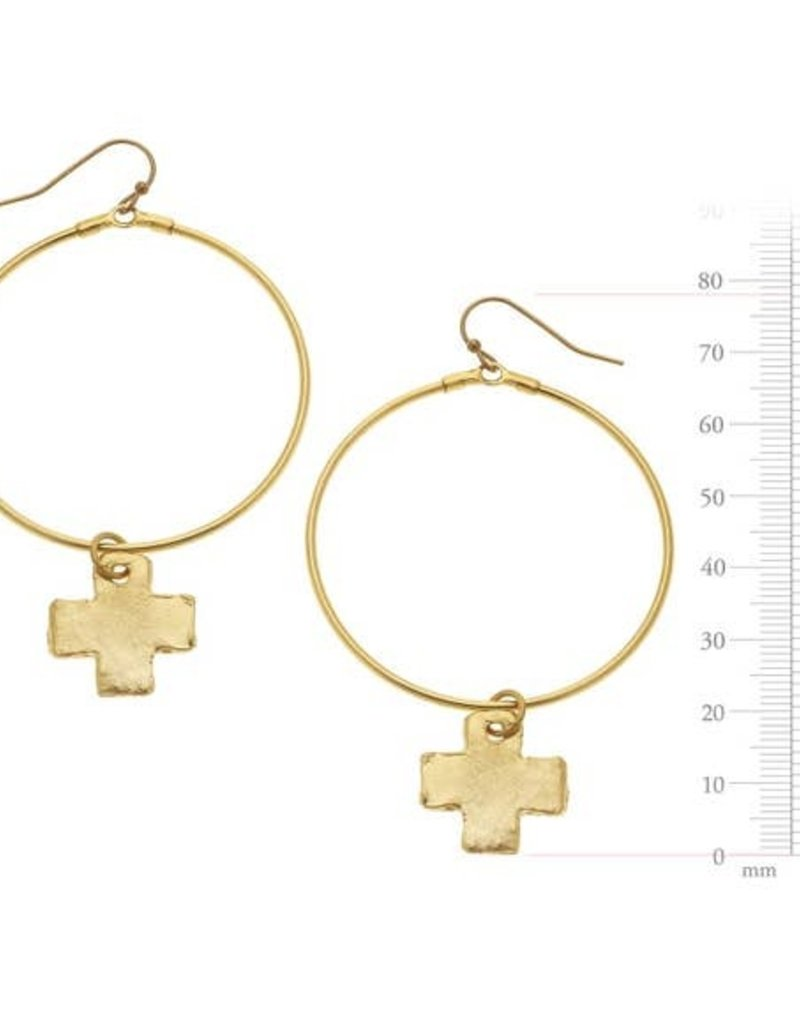 Susan Shaw Gold Cross and Round hoop earrings