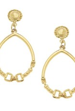 Susan Shaw Gold Cab and Horse Bit Hoop Earrings