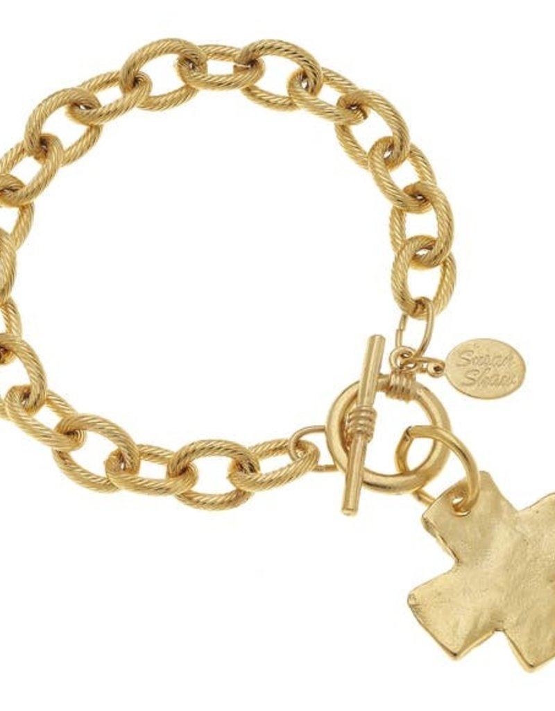 Susan Shaw Gold Cross Toggle Bracelet