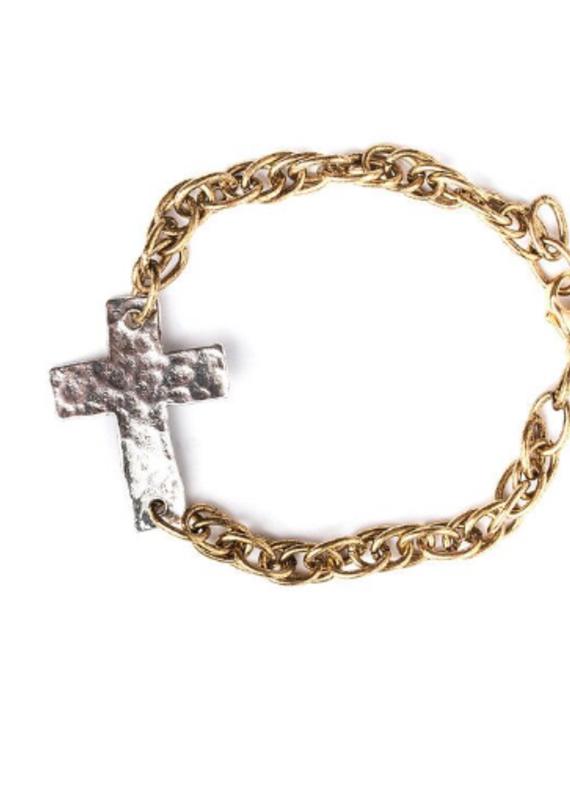 Hammered Cross Chain Bracelet