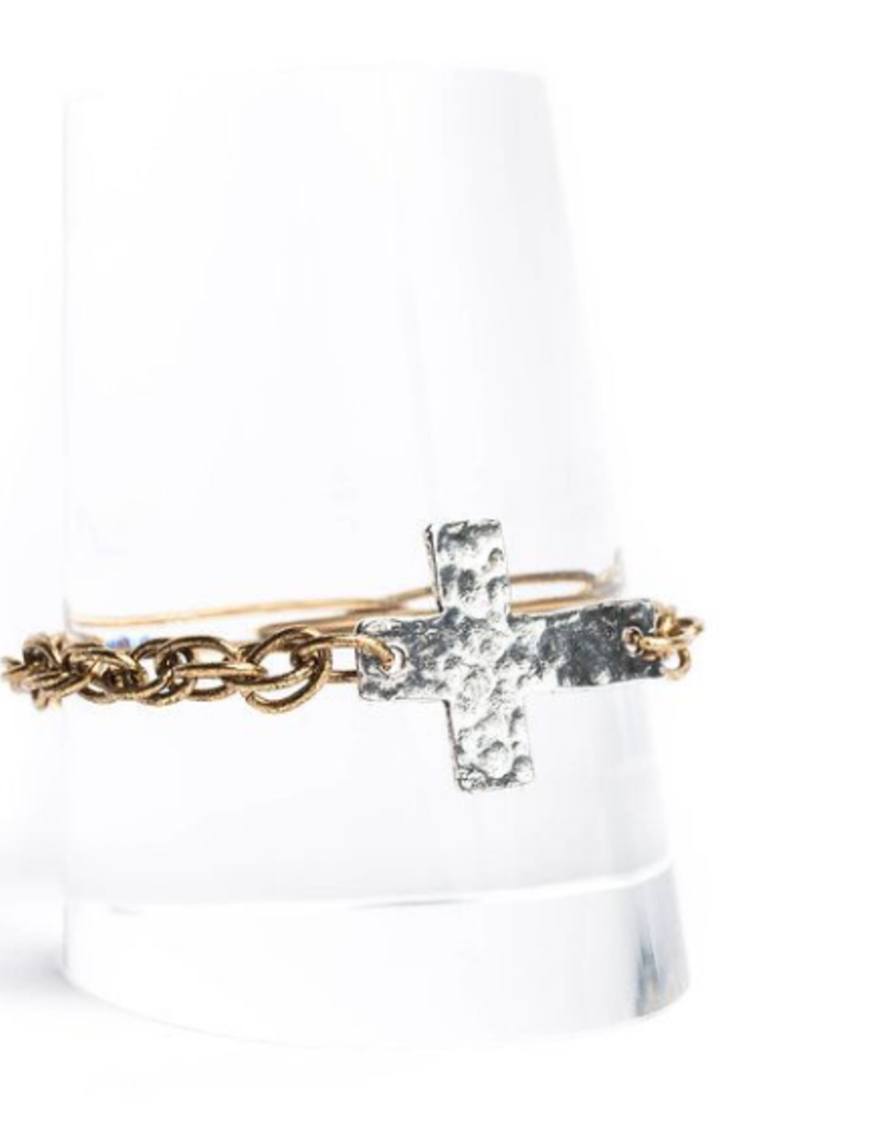 Diana Warner-Hammered Cross Chain Bracelet